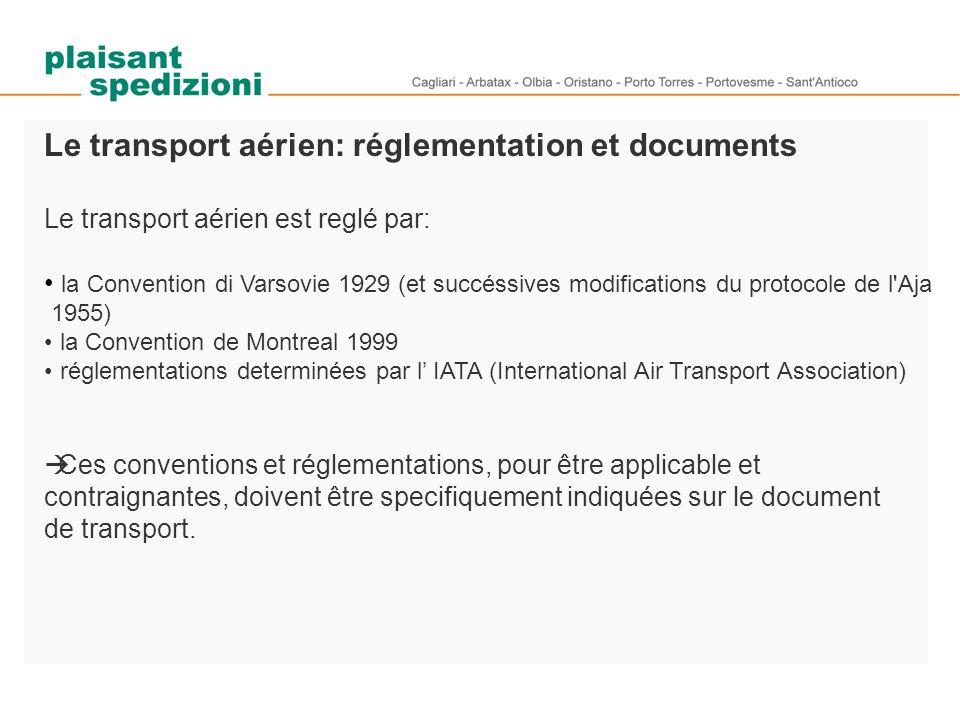Le transport aérien: réglementation et documents Le transport aérien est reglé par: la Convention di Varsovie 1929 (et succéssives modifications du pr