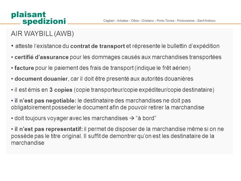 AIR WAYBILL (AWB) atteste l'existance du contrat de transport et répresente le bullettin d'expédition certifié d'assurance pour les dommages causés au