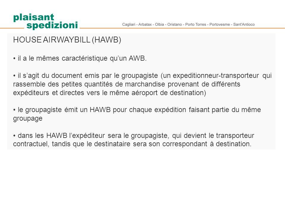HOUSE AIRWAYBILL (HAWB) il a le mêmes caractéristique qu'un AWB. il s'agit du document emis par le groupagiste (un expeditionneur-transporteur qui ras