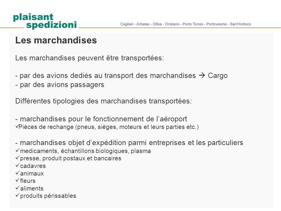 Les marchandises Les marchandises peuvent être transportées: - par des avions dediés au transport des marchandises  Cargo - par des avions passagers