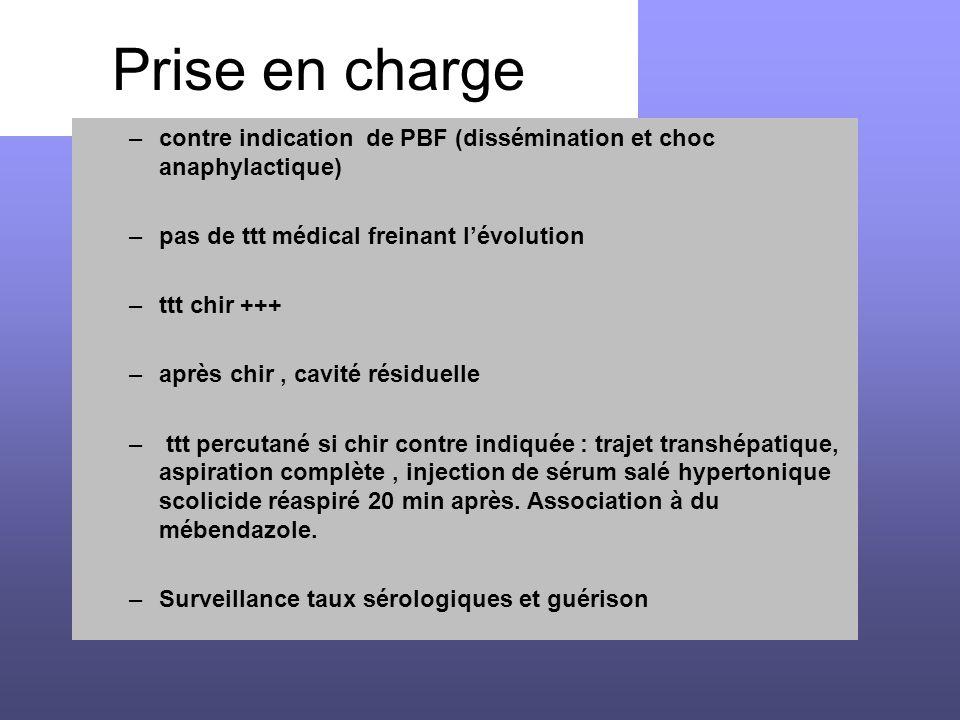 Prise en charge –contre indication de PBF (dissémination et choc anaphylactique) –pas de ttt médical freinant l'évolution –ttt chir +++ –après chir, c