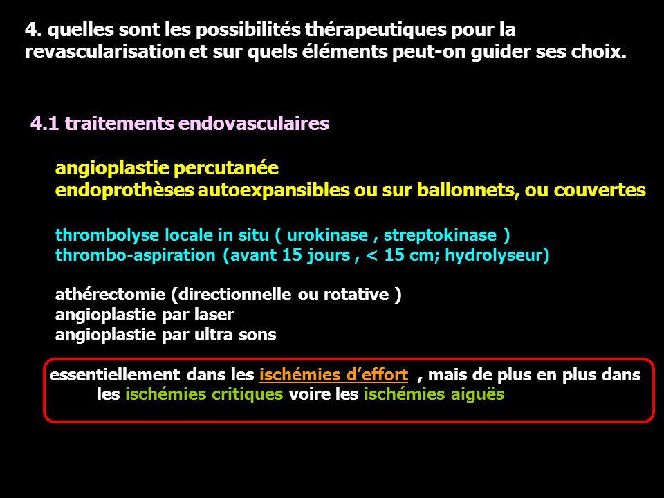 4. quelles sont les possibilités thérapeutiques pour la revascularisation et sur quels éléments peut-on guider ses choix. 4.1 traitements endovasculai