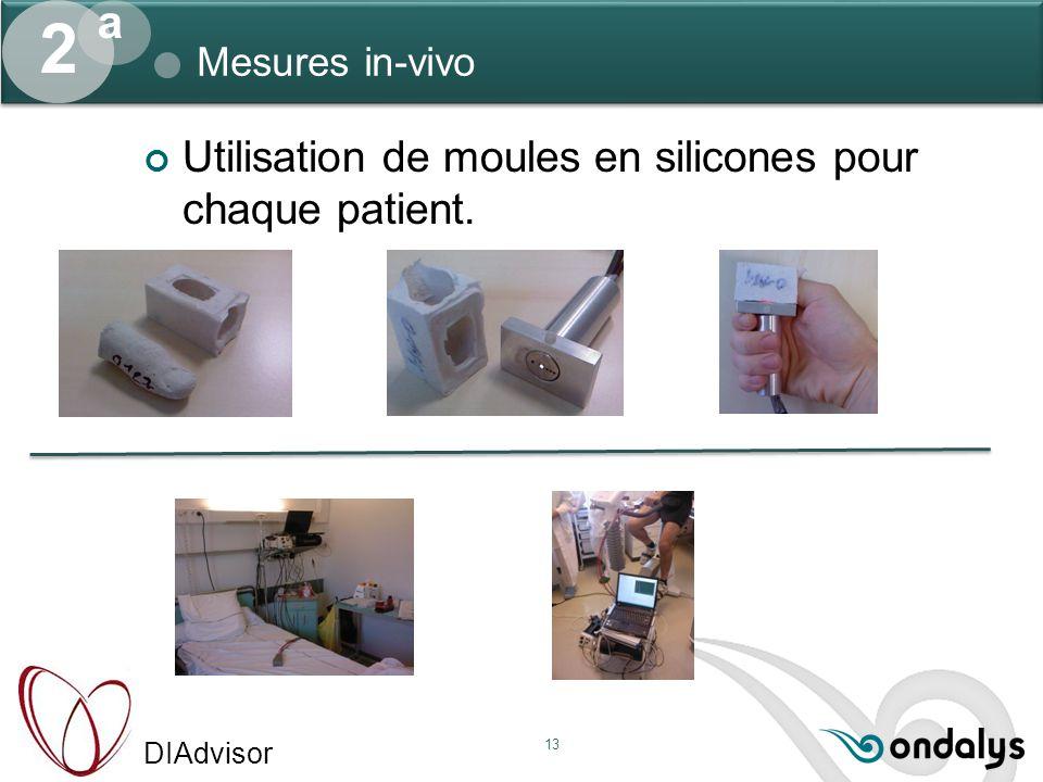 DIAdvisor 13 Mesures in-vivo 2 a Utilisation de moules en silicones pour chaque patient.