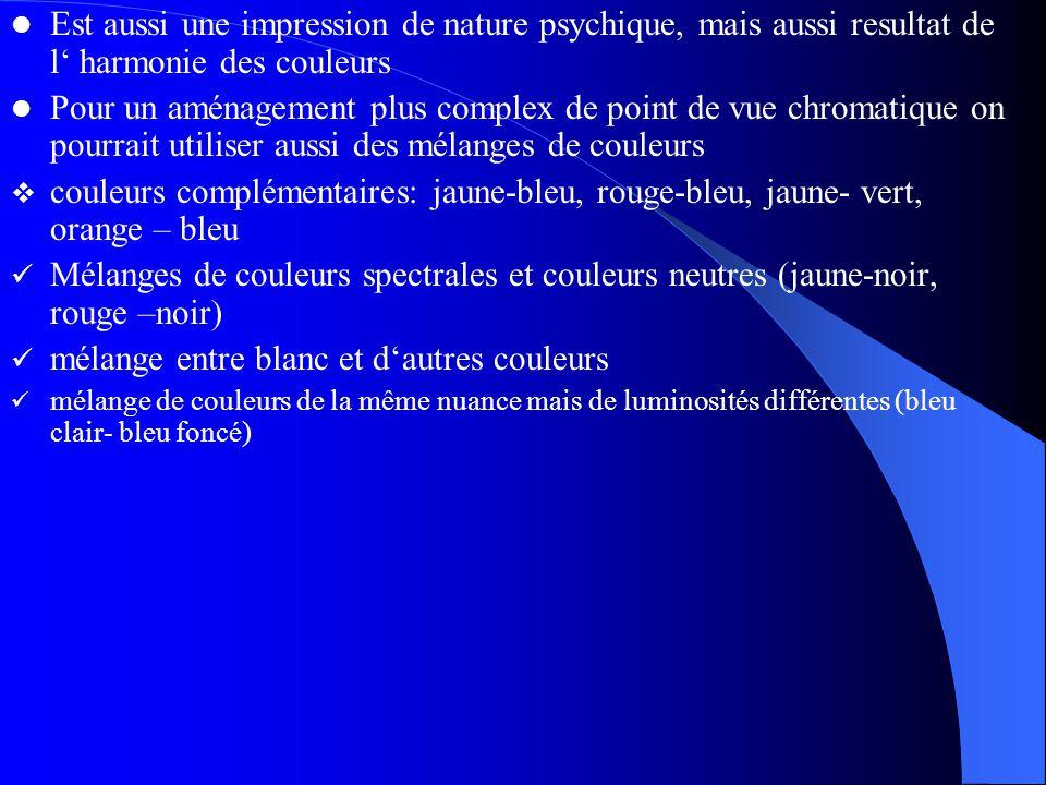 Est aussi une impression de nature psychique, mais aussi resultat de l' harmonie des couleurs Pour un aménagement plus complex de point de vue chromatique on pourrait utiliser aussi des mélanges de couleurs  couleurs complémentaires: jaune-bleu, rouge-bleu, jaune- vert, orange – bleu Mélanges de couleurs spectrales et couleurs neutres (jaune-noir, rouge –noir) mélange entre blanc et d'autres couleurs mélange de couleurs de la même nuance mais de luminosités différentes (bleu clair- bleu foncé)