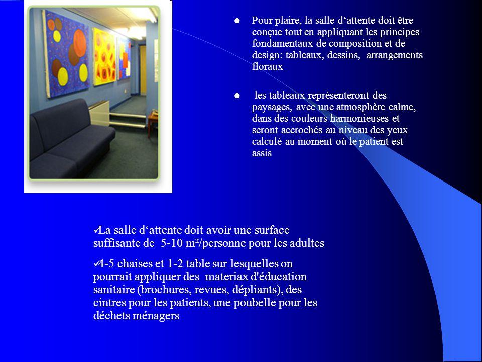 Pour plaire, la salle d'attente doit être conçue tout en appliquant les principes fondamentaux de composition et de design: tableaux, dessins, arrangements floraux les tableaux représenteront des paysages, avec une atmosphère calme, dans des couleurs harmonieuses et seront accrochés au niveau des yeux calculé au moment où le patient est assis La salle d'attente doit avoir une surface suffisante de 5-10 m²/personne pour les adultes 4-5 chaises et 1-2 table sur lesquelles on pourrait appliquer des materiax d éducation sanitaire (brochures, revues, dépliants), des cintres pour les patients, une poubelle pour les déchets ménagers