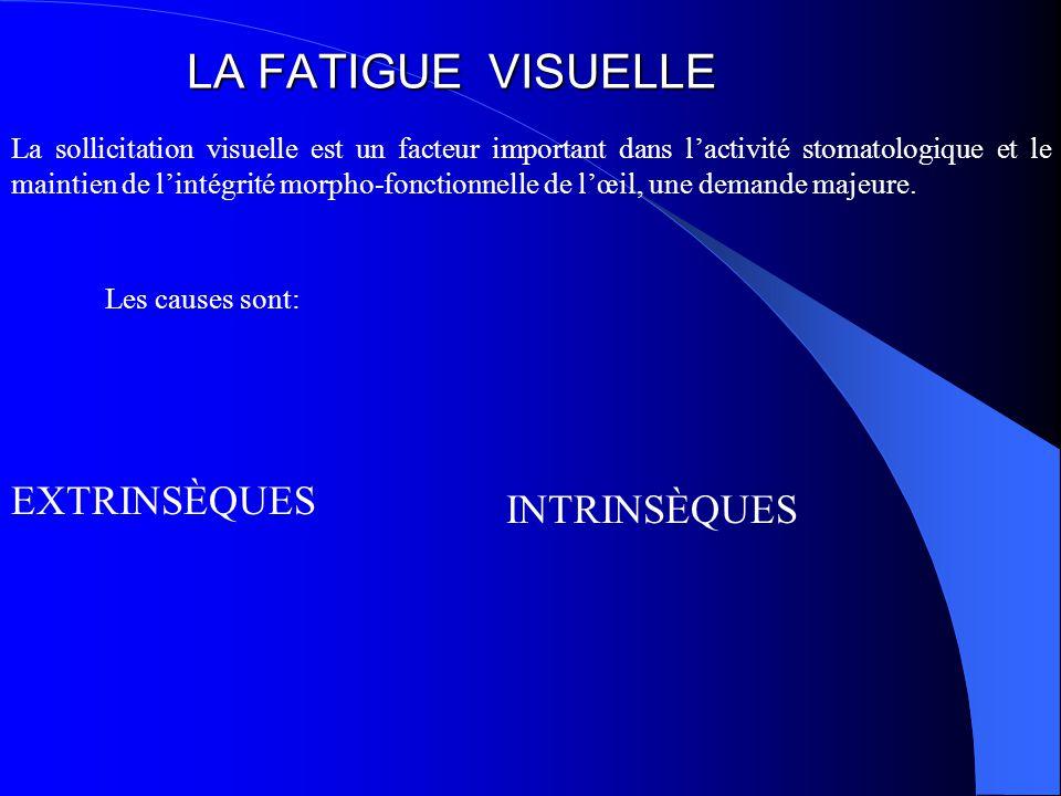 LA FATIGUE VISUELLE La sollicitation visuelle est un facteur important dans l'activité stomatologique et le maintien de l'intégrité morpho-fonctionnelle de l'œil, une demande majeure.