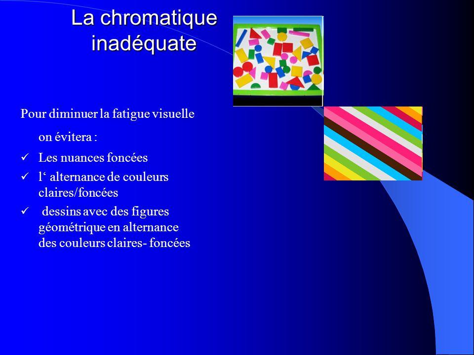 La chromatique inadéquate Pour diminuer la fatigue visuelle on évitera : Les nuances foncées l' alternance de couleurs claires/foncées dessins avec des figures géométrique en alternance des couleurs claires- foncées