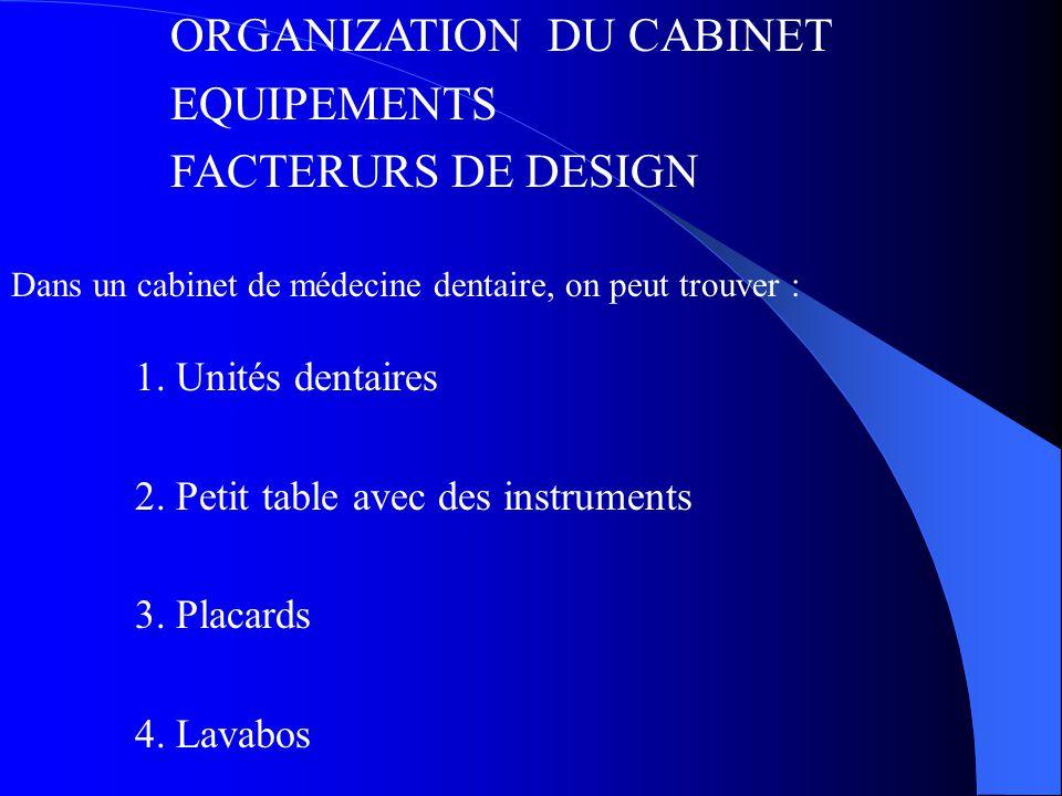 1.Unités dentaires 2. Petit table avec des instruments 3.