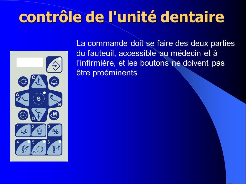 La commande doit se faire des deux parties du fauteuil, accessible au médecin et à l'infirmière, et les boutons ne doivent pas être proéminents contrôle de l unité dentaire