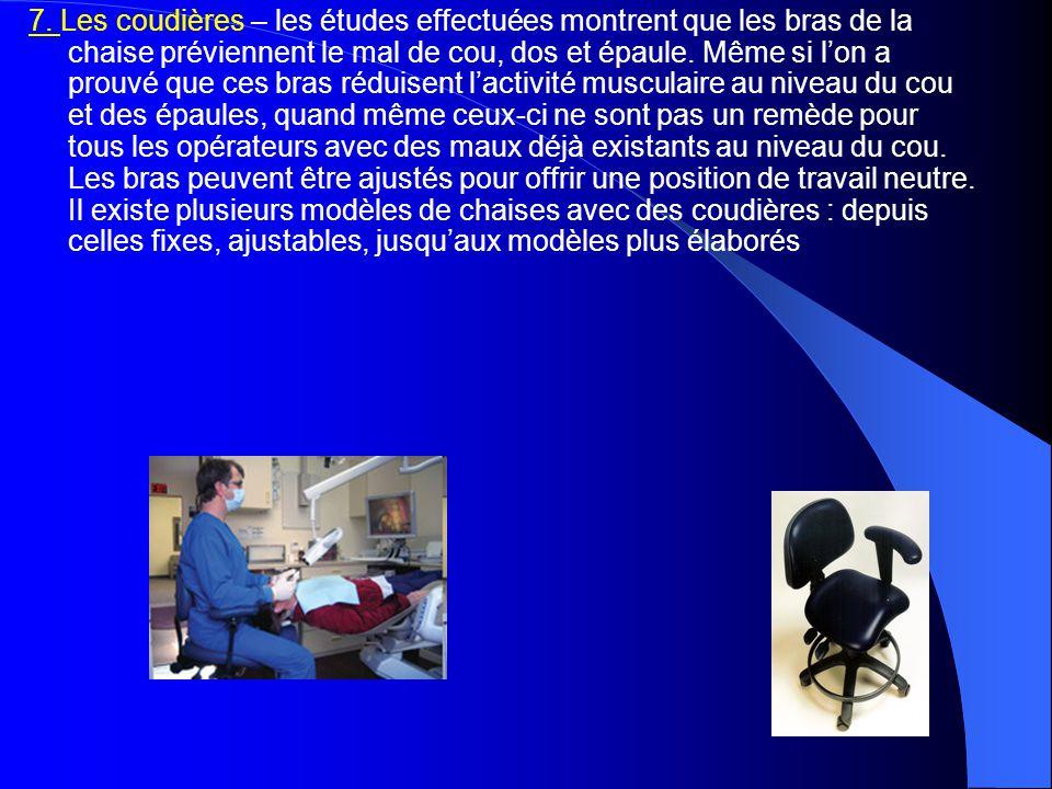 7. Les coudières – les études effectuées montrent que les bras de la chaise préviennent le mal de cou, dos et épaule. Même si l'on a prouvé que ces br