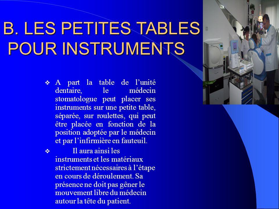  A part la table de l'unité dentaire, le médecin stomatologue peut placer ses instruments sur une petite table, séparée, sur roulettes, qui peut être placée en fonction de la position adoptée par le médecin et par l'infirmière en fauteuil.