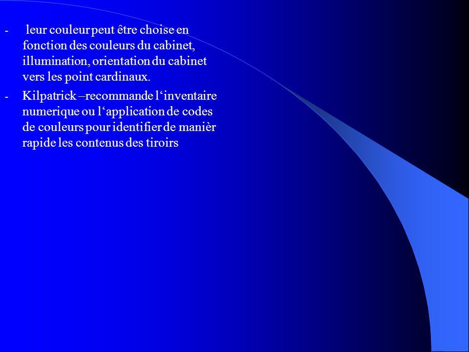 - leur couleur peut être choise en fonction des couleurs du cabinet, illumination, orientation du cabinet vers les point cardinaux.