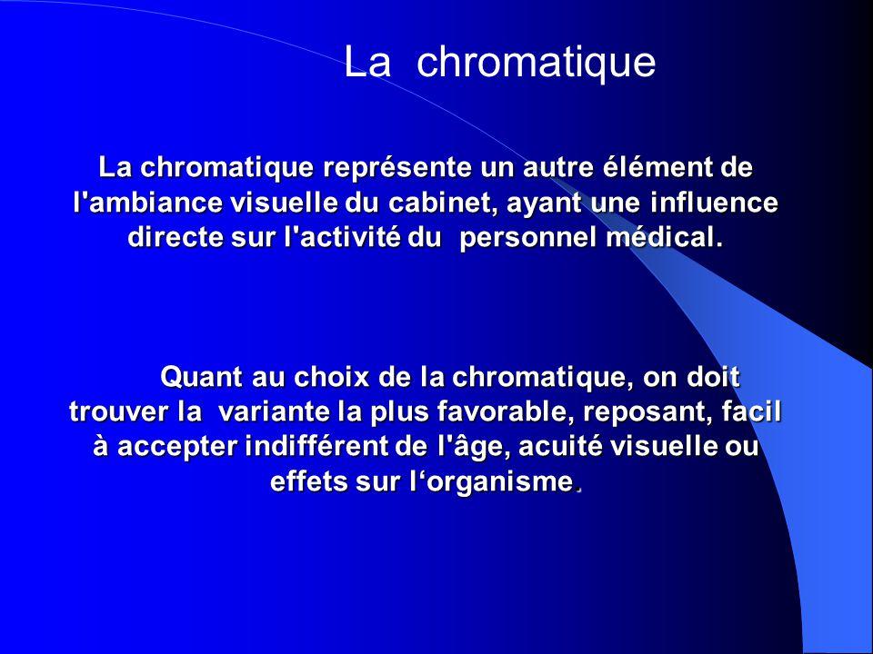 La chromatique représente un autre élément de l ambiance visuelle du cabinet, ayant une influence directe sur l activité du personnel médical.