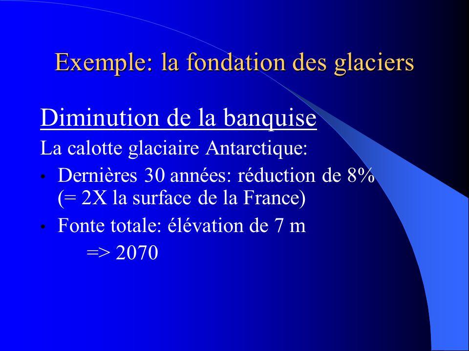 Exemple: la fondation des glaciers Diminution de la banquise La calotte glaciaire Antarctique: Dernières 30 années: réduction de 8% (= 2X la surface de la France) Fonte totale: élévation de 7 m => 2070