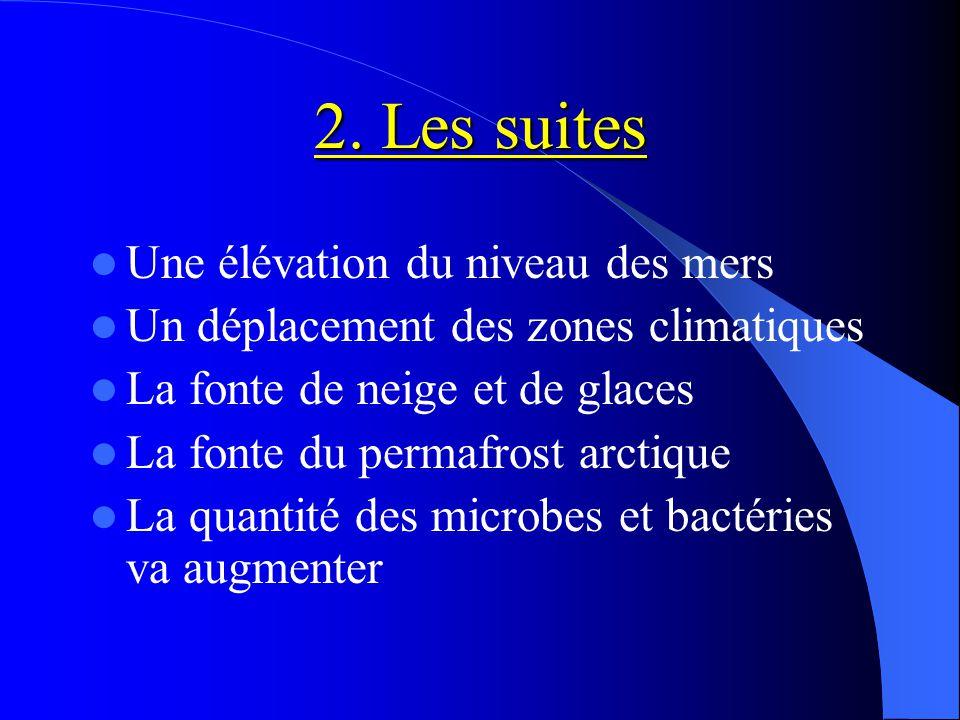 Exemple: la fonte des glaciers Elévation du niveau des mers Les petits glaciers fondent La fonte de la calotte glaciaire du Groenland et d'Antarctique L'expansion thermique