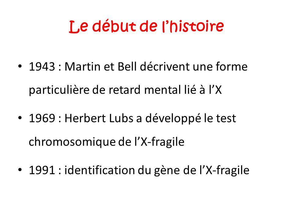 Le début de l'histoire 1943 : Martin et Bell décrivent une forme particulière de retard mental lié à l'X 1969 : Herbert Lubs a développé le test chrom