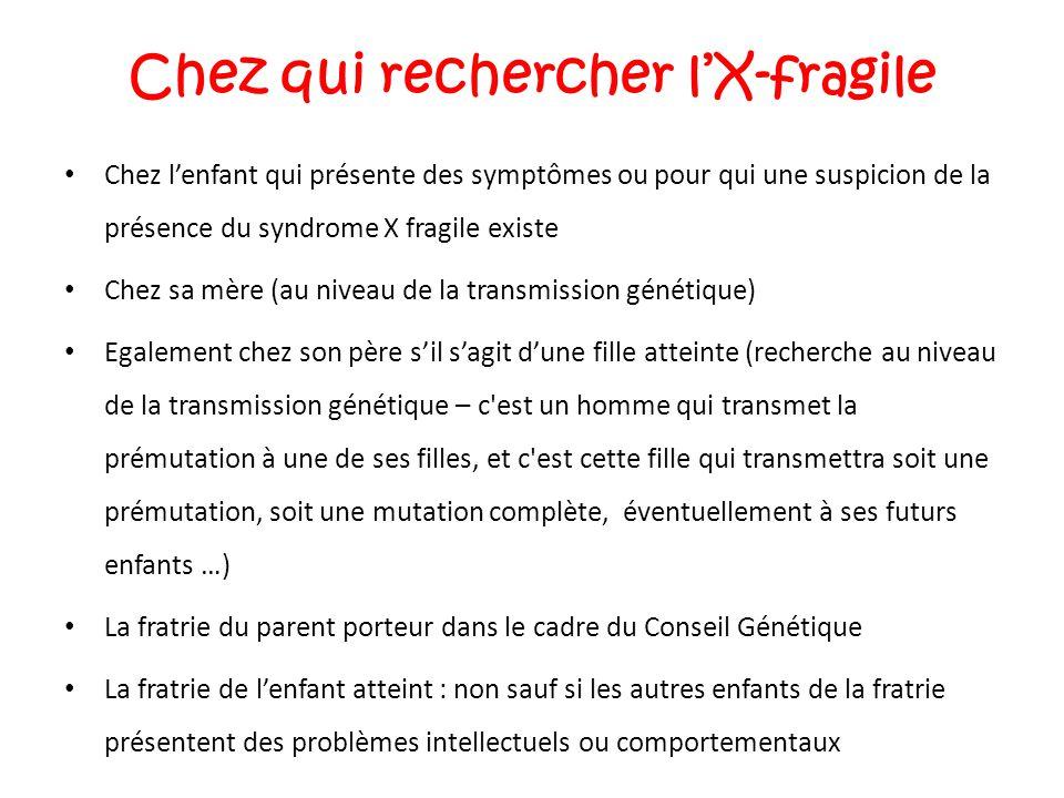 Chez qui rechercher l'X-fragile Chez l'enfant qui présente des symptômes ou pour qui une suspicion de la présence du syndrome X fragile existe Chez sa