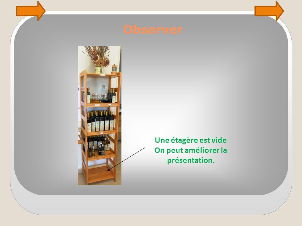 Observer Une étagère est vide On peut améliorer la présentation.
