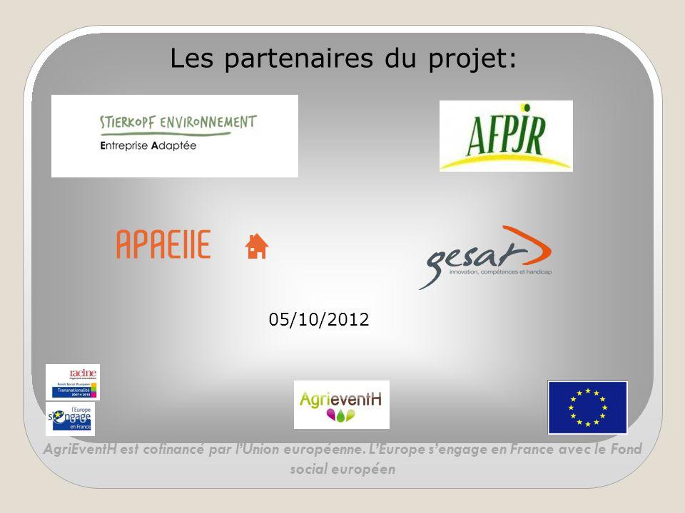 Les partenaires du projet: 05/10/2012 AgriEventH est cofinancé par l'Union européenne. L'Europe s'engage en France avec le Fond social européen