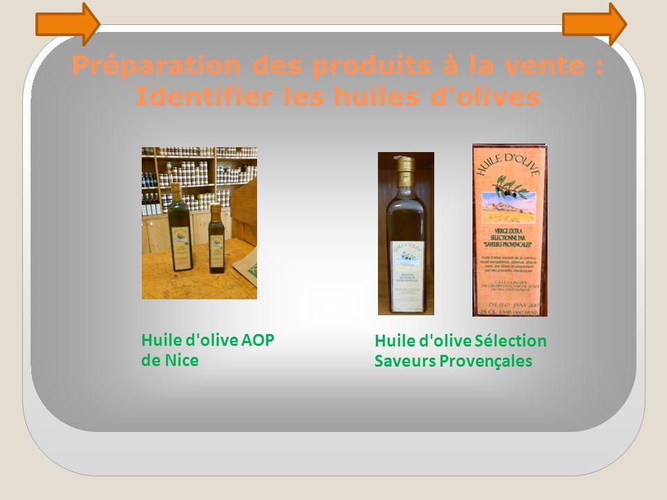 Préparation des produits à la vente : Identifier les huiles d'olives Huile d'olive AOP de Nice Huile d'olive Sélection Saveurs Provençales