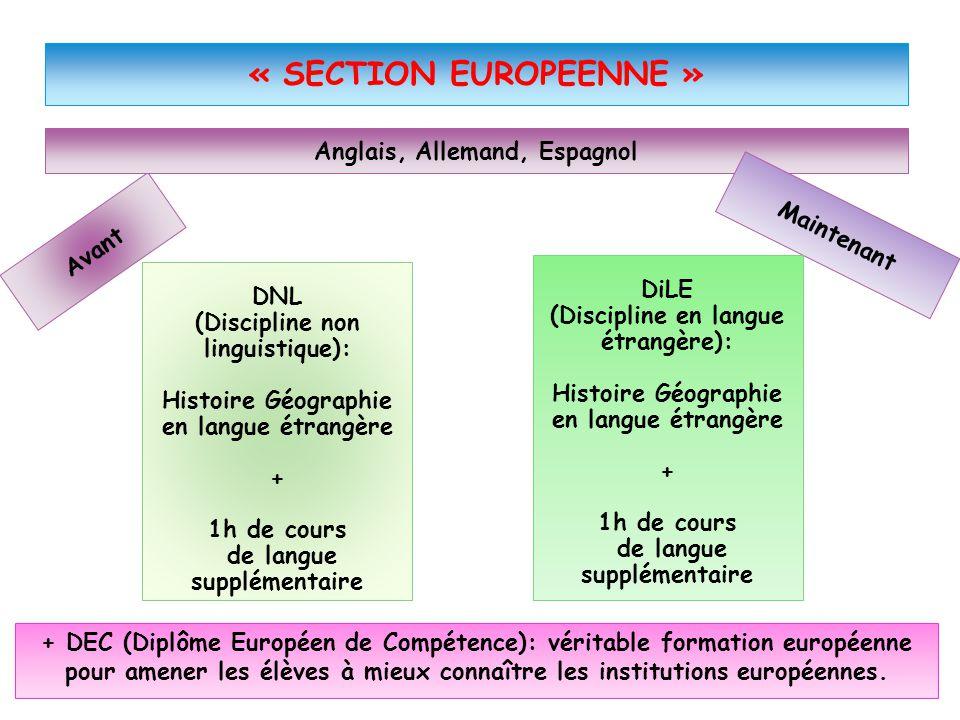 DNL (Discipline non linguistique): Histoire Géographie en langue étrangère + 1h de cours de langue supplémentaire Avant « SECTION EUROPEENNE » Anglais