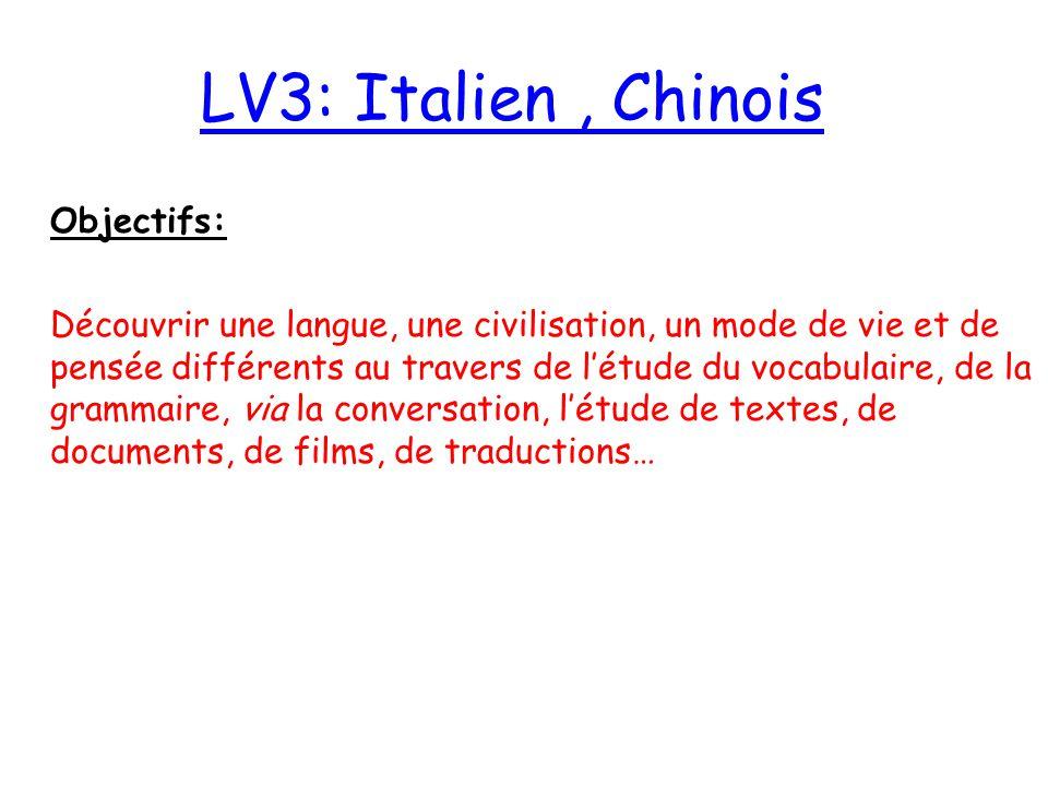 LV3: LV3: Italien, Chinois Objectifs: Découvrir une langue, une civilisation, un mode de vie et de pensée différents au travers de l'étude du vocabula