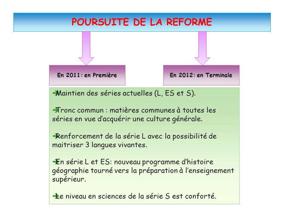 En 2012: en Terminale POURSUITE DE LA REFORME En 2011: en Première  Maintien des séries actuelles (L, ES et S).  Tronc commun : matières communes à