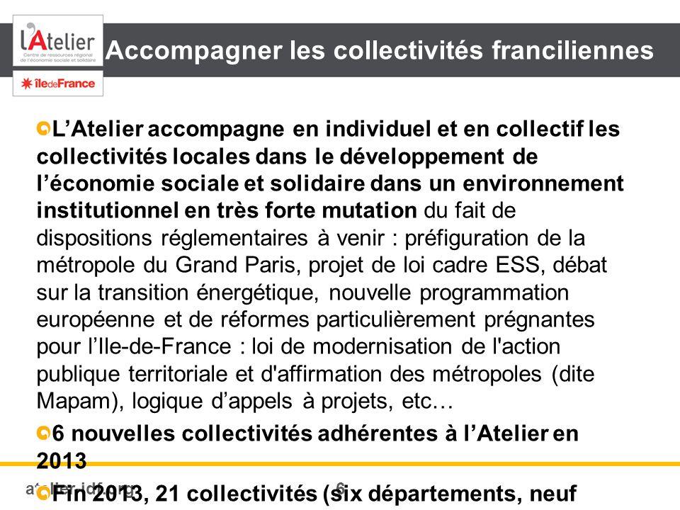 atelier-idf.org7 Appuyer et optimiser la chaîne de l'accompagnement francilienne L Atelier assumait jusqu en 2013 la mission d animation régionale (C2RA) du dispositif local d accompagnement (DLA).