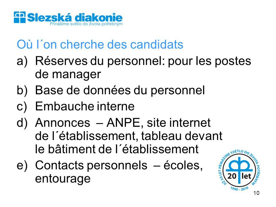 Où l´on cherche des candidats a)Réserves du personnel: pour les postes de manager b)Base de données du personnel c)Embauche interne d)Annonces – ANPE,