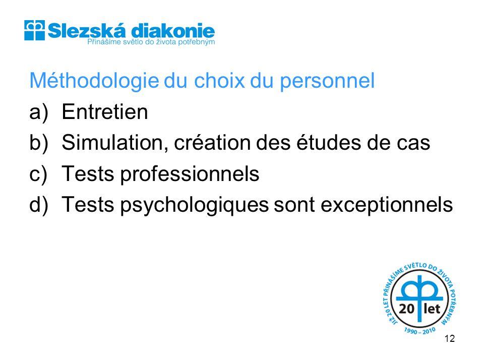 Méthodologie du choix du personnel a)Entretien b)Simulation, création des études de cas c)Tests professionnels d)Tests psychologiques sont exceptionne