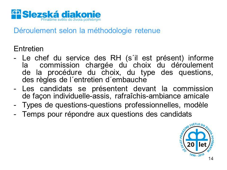 Déroulement selon la méthodologie retenue Entretien -Le chef du service des RH (s´il est présent) informe la commission chargée du choix du déroulemen