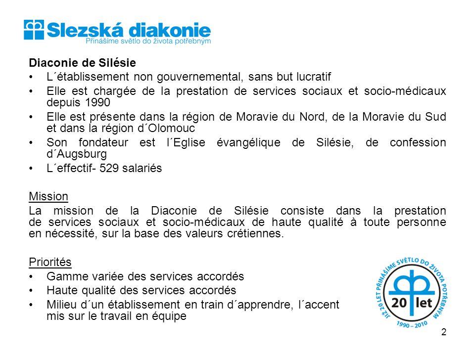 Diaconie de Silésie L´établissement non gouvernemental, sans but lucratif Elle est chargée de la prestation de services sociaux et socio-médicaux depu