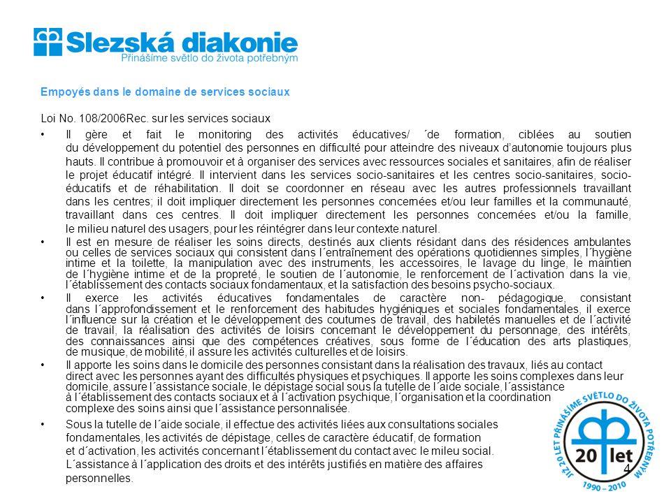 Empoyés dans le domaine de services sociaux Loi No. 108/2006Rec. sur les services sociaux Il gère et fait le monitoring des activités éducatives/ ´de