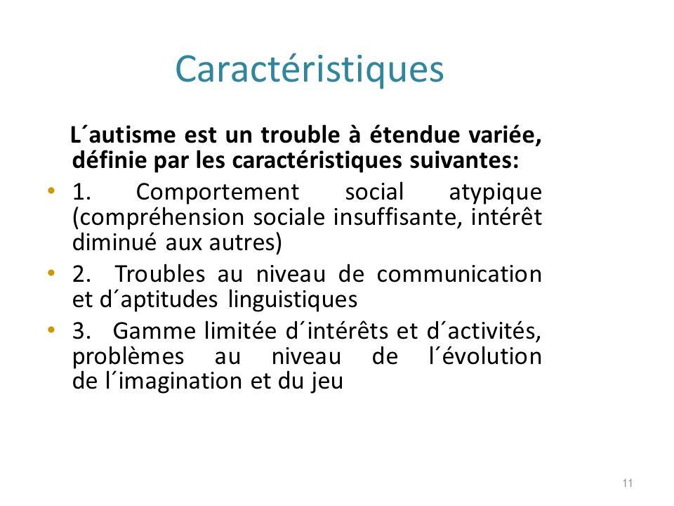 Caractéristiques L´autisme est un trouble à étendue variée, définie par les caractéristiques suivantes: 1.