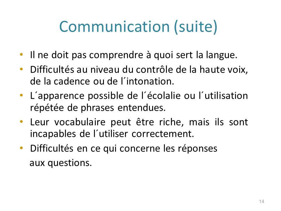 Communication (suite) Il ne doit pas comprendre à quoi sert la langue.