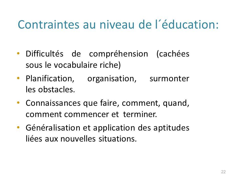 Contraintes au niveau de l´éducation: Difficultés de compréhension (cachées sous le vocabulaire riche) Planification, organisation, surmonter les obstacles.