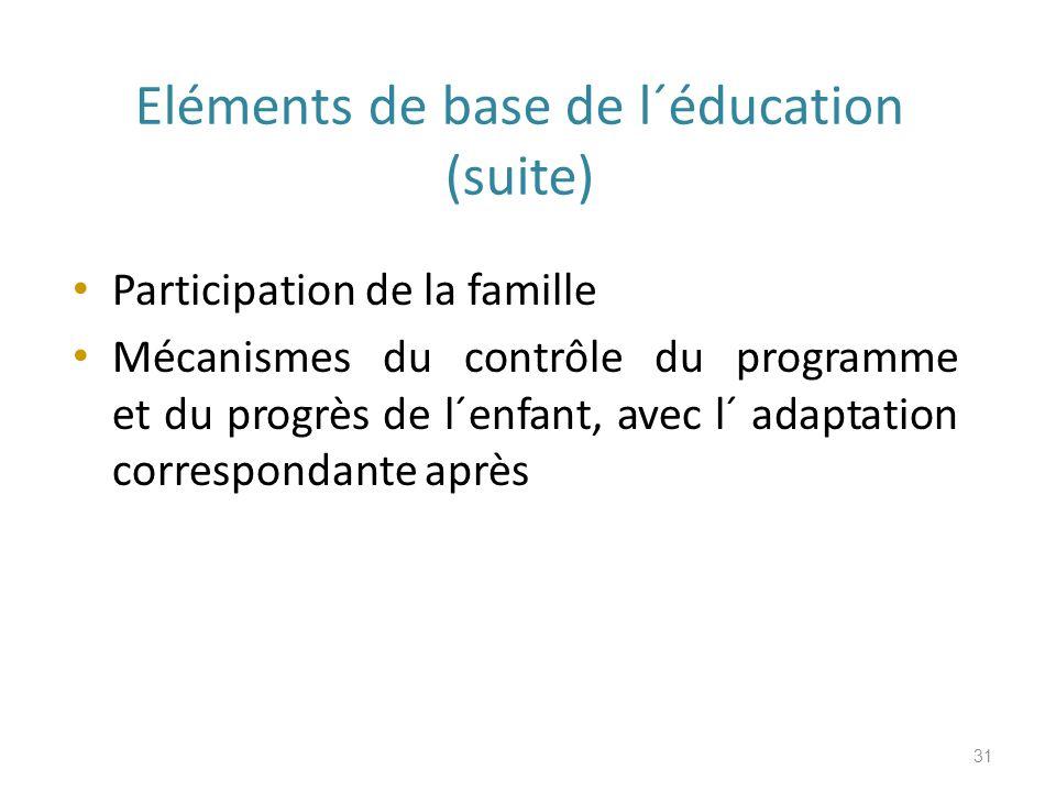 Eléments de base de l´éducation (suite) Participation de la famille Mécanismes du contrôle du programme et du progrès de l´enfant, avec l´ adaptation correspondante après 31