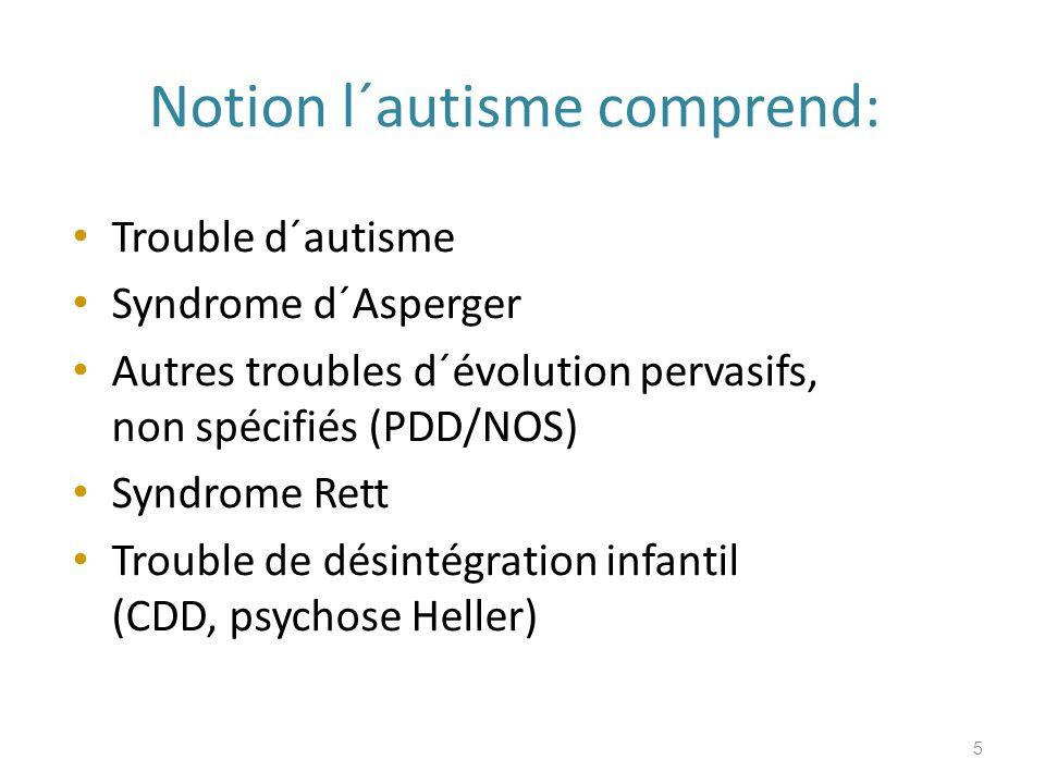 Notion l´autisme comprend: Trouble d´autisme Syndrome d´Asperger Autres troubles d´évolution pervasifs, non spécifiés (PDD/NOS) Syndrome Rett Trouble de désintégration infantil (CDD, psychose Heller) 5