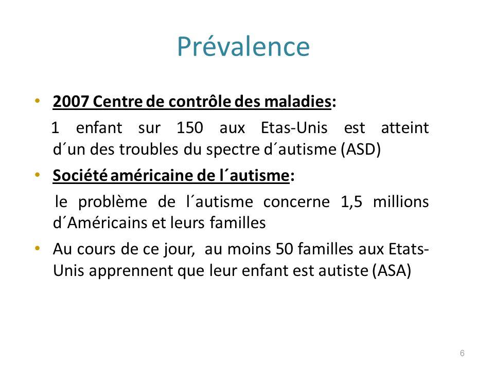 Prévalence 2007 Centre de contrôle des maladies: 1 enfant sur 150 aux Etas-Unis est atteint d´un des troubles du spectre d´autisme (ASD) Société américaine de l´autisme: le problème de l´autisme concerne 1,5 millions d´Américains et leurs familles Au cours de ce jour, au moins 50 familles aux Etats- Unis apprennent que leur enfant est autiste (ASA) 6