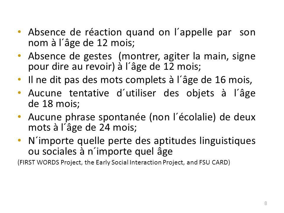 Absence de réaction quand on l´appelle par son nom à l´âge de 12 mois; Absence de gestes (montrer, agiter la main, signe pour dire au revoir) à l´âge de 12 mois; Il ne dit pas des mots complets à l´âge de 16 mois, Aucune tentative d´utiliser des objets à l´âge de 18 mois; Aucune phrase spontanée (non l´écolalie) de deux mots à l´âge de 24 mois; N´importe quelle perte des aptitudes linguistiques ou sociales à n´importe quel âge (FIRST WORDS Project, the Early Social Interaction Project, and FSU CARD) 8
