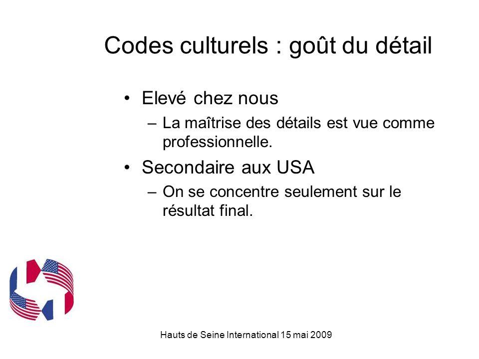 Hauts de Seine International 15 mai 2009 Codes culturels : goût du détail Elevé chez nous –La maîtrise des détails est vue comme professionnelle.