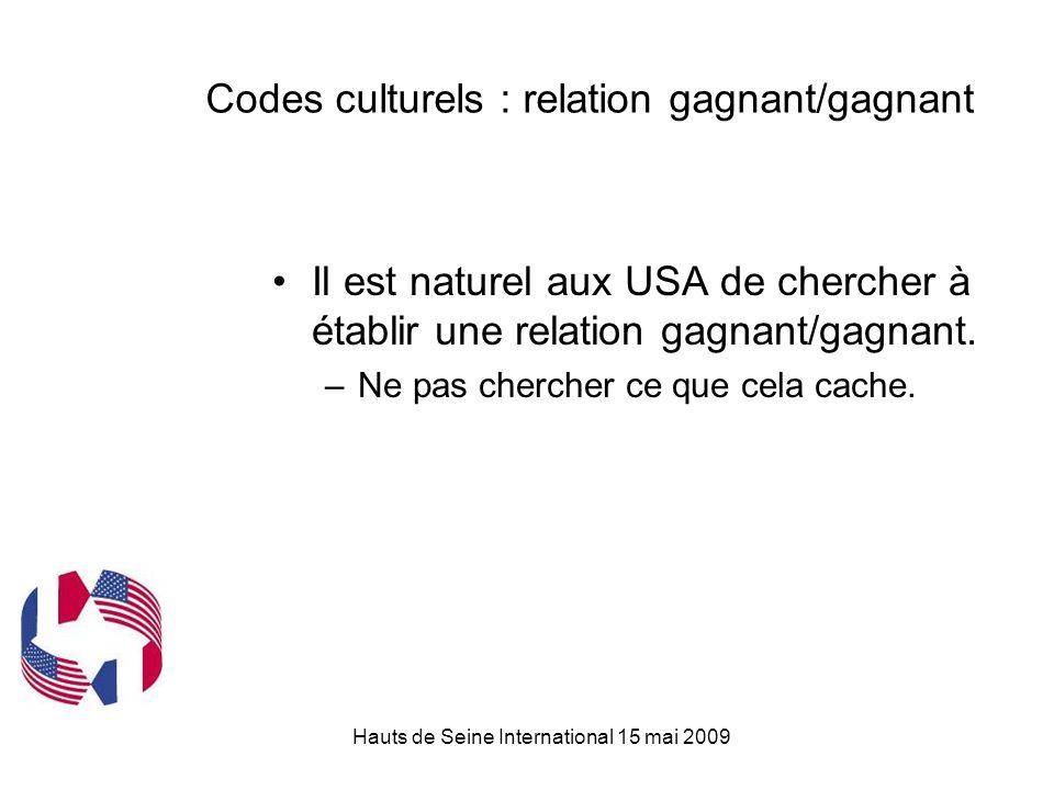Hauts de Seine International 15 mai 2009 Codes culturels : relation gagnant/gagnant Il est naturel aux USA de chercher à établir une relation gagnant/gagnant.