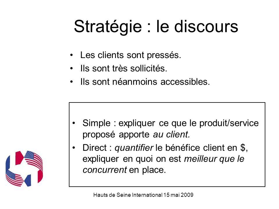 Hauts de Seine International 15 mai 2009 Stratégie : le discours Simple : expliquer ce que le produit/service proposé apporte au client.