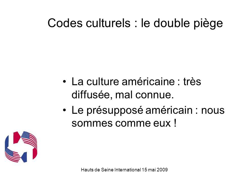 Hauts de Seine International 15 mai 2009 Codes culturels : le double piège La culture américaine : très diffusée, mal connue.