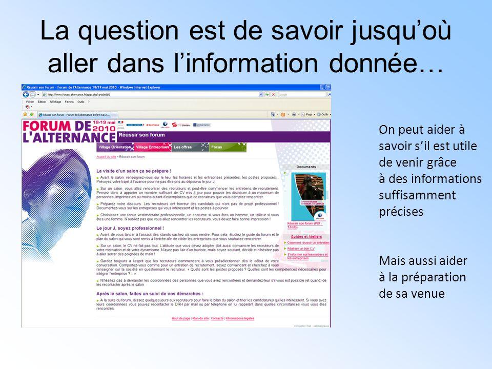 La question est de savoir jusqu'où aller dans l'information donnée… On peut aider à savoir s'il est utile de venir grâce à des informations suffisamme