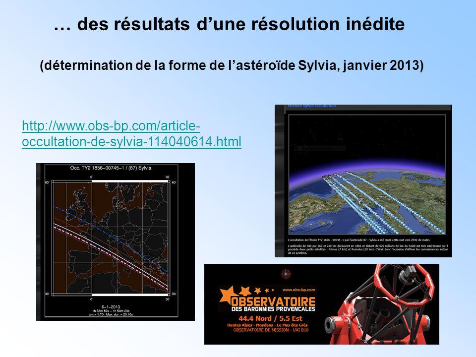 http://www.obs-bp.com/article- occultation-de-sylvia-114040614.html … des résultats d'une résolution inédite (détermination de la forme de l'astéroïde