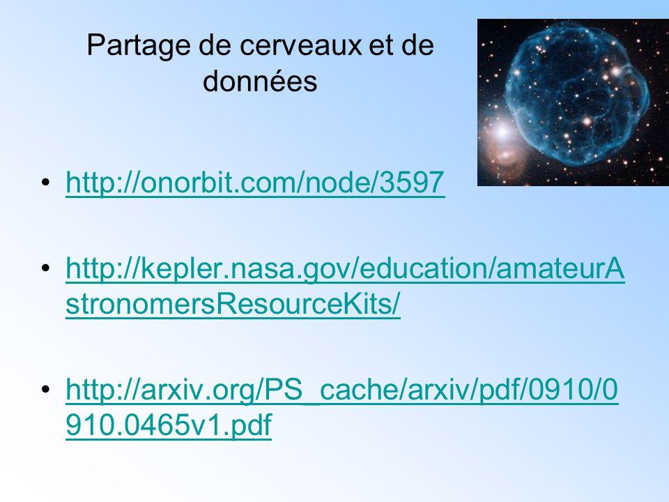 Partage de cerveaux et de données http://onorbit.com/node/3597 http://kepler.nasa.gov/education/amateurA stronomersResourceKits/http://kepler.nasa.gov