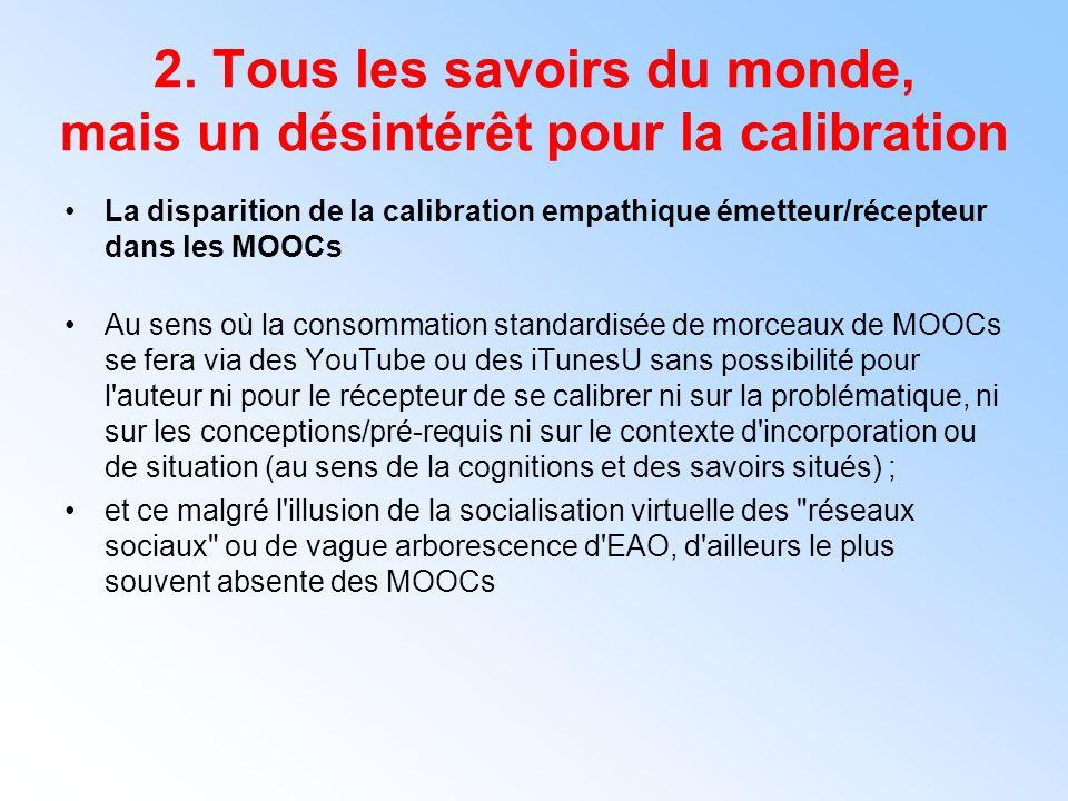 2. Tous les savoirs du monde, mais un désintérêt pour la calibration La disparition de la calibration empathique émetteur/récepteur dans les MOOCs Au