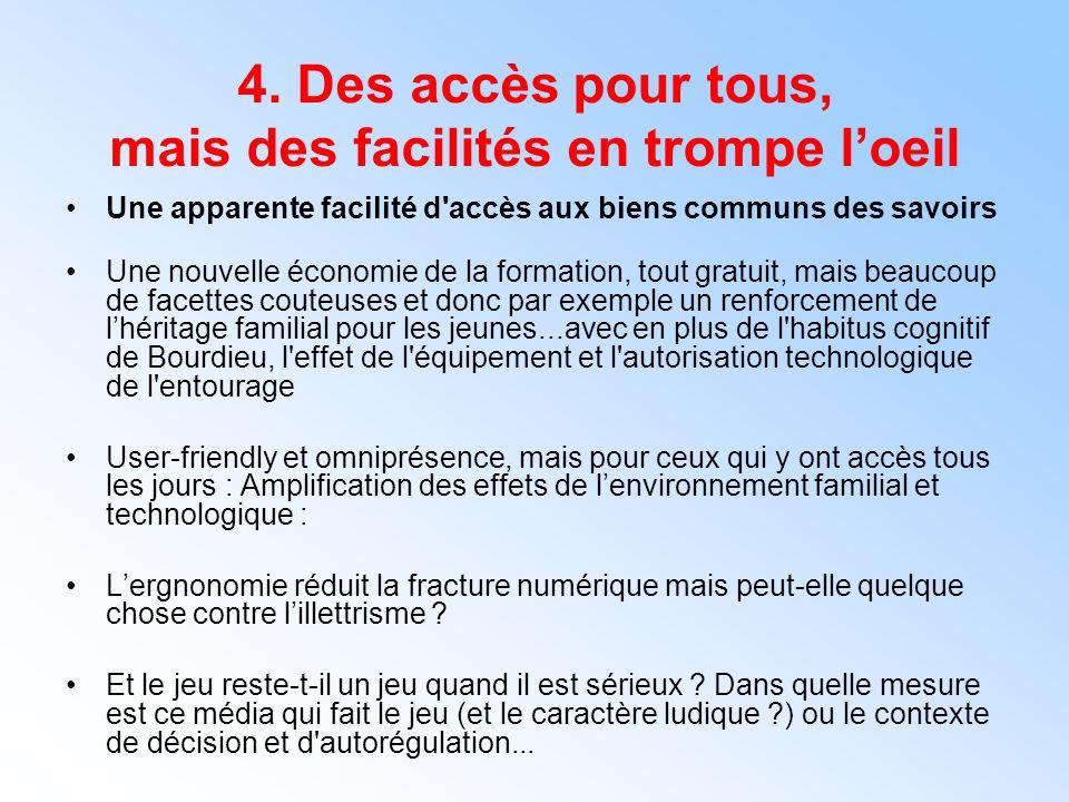 4. Des accès pour tous, mais des facilités en trompe l'oeil Une apparente facilité d'accès aux biens communs des savoirs Une nouvelle économie de la f