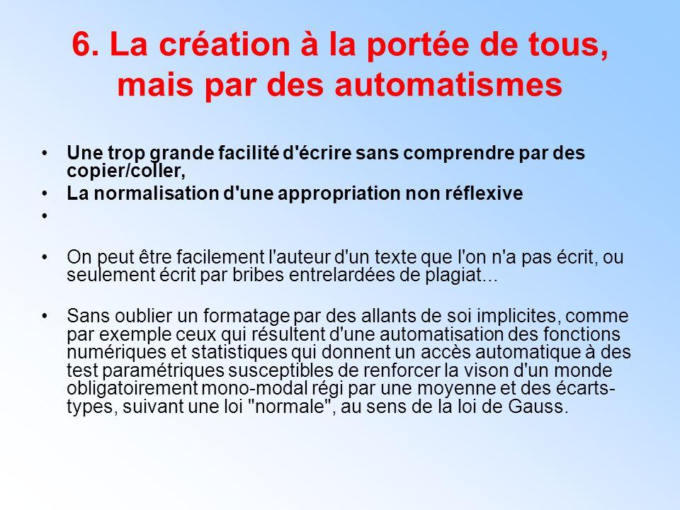 6. La création à la portée de tous, mais par des automatismes Une trop grande facilité d'écrire sans comprendre par des copier/coller, La normalisatio